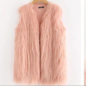 NWOT Long pink faux fur vest